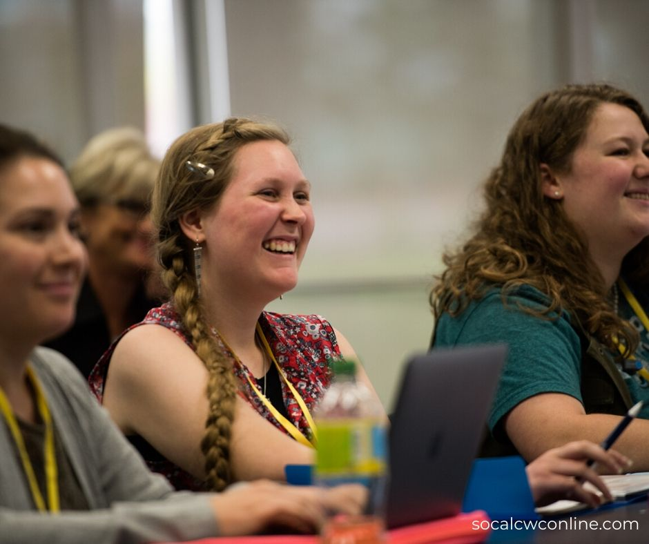 Girl laughing - writers' online conference